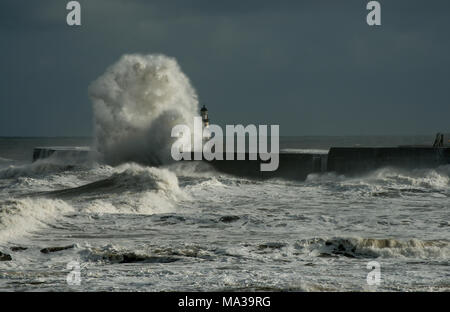 Storm waves hit Seaham Harbour lighthouse - Stock Photo