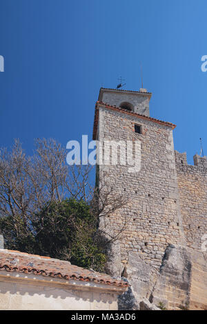 Angular tower and wall of medieval castle. Guaita, San Marino - Stock Photo