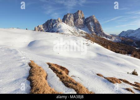 North-west wall of the mount Pelmo from Alpe Prendera in winter, Col Roan, Dolomites, Borca di Cadore, Belluno, Veneto, Italy - Stock Photo
