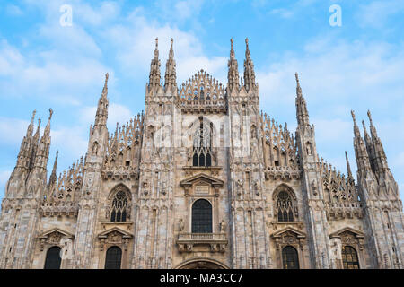 Milan, Lombardy, Italy.  The facade of the Milan's Cathedral - Stock Photo