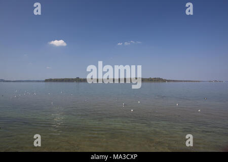 View at island Herrenchiemsee, Chiemgau, lake Chiemsee, Bernau, Felden, Upper Bavaria, Bavaria, South Germany, Germany, - Stock Photo