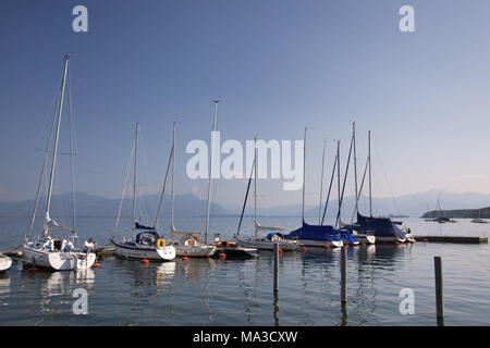 Sailboats on the lake Chiemsee, Chiemgau, Gollenshausen, Gstadt, Upper Bavaria, Bavaria, South Germany, Germany, - Stock Photo