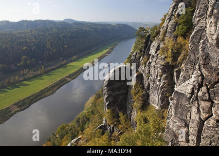 View from the bastion to the Elbe valley, Saxon Switzerland, Rathen, Saxony, Germany, - Stock Photo