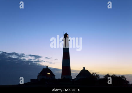 Lighthouse Westerheversand, peninsula Eiderstedt, Schleswig - Holstein, Germany, - Stock Photo