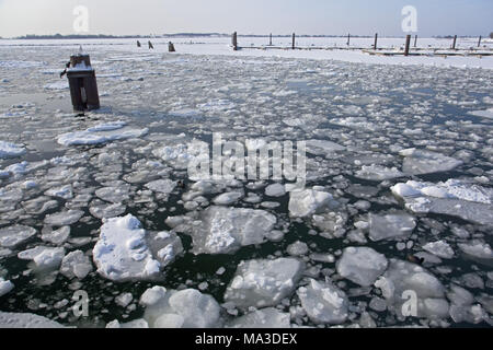 Ice floes on the Baltic Sea, Burgstaaken, castle, island Fehmarn, Schleswig - Holstein, North Germany, Germany, - Stock Photo