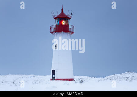 Western lighthouse in the Ellenbogen, List, island Sylt, the North Frisians, Schleswig - Holstein, Germany, - Stock Photo