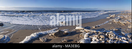 Floes at the beach of Kampen, island Sylt, North Frisian Islands, Schleswig - Holstein, Germany, - Stock Photo