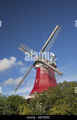 Windmill 'Zwillingsmühle' of Greetsiel, East Friesland, Lower Saxony, North Germany, Germany, Europe, - Stock Photo