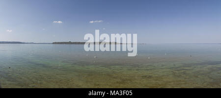 View at island Herrenchiemsee, Chiemgau, Chiemsee, Bernau, Felden, Upper Bavaria, Bavaria, South Germany, Germany, - Stock Photo