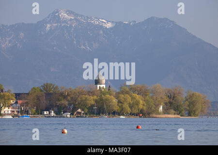 Frauenchiemsee in Chiemsee, Chiemgau, Gstadt, Upper Bavaria, Bavaria, South Germany, Germany, - Stock Photo