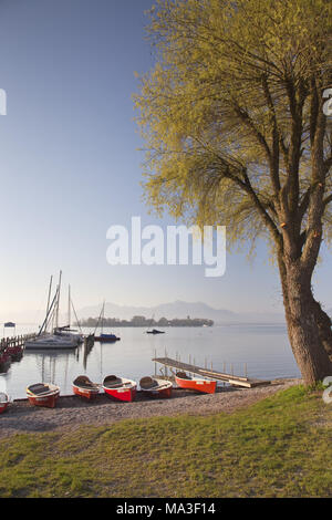 Boats on the beach of Chiemsee, Chiemgau, Gstadt, Upper Bavaria, Bavaria, South Germany, Germany, - Stock Photo