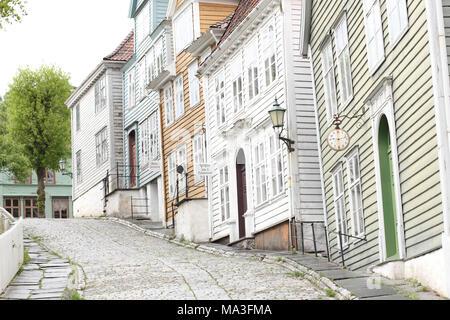Old Norwegian houses at Gamle Bergen - Stock Photo