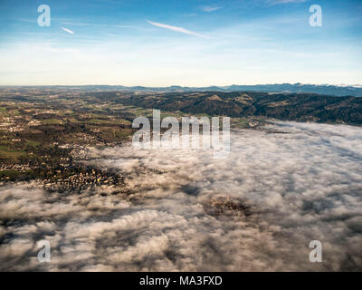 View ofthe Allgäu region, clouds above Lindau on Lake Constance - Stock Photo