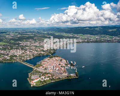 Aerial picture of Lindau on Lake Constance and Allgäu region in the background - Stock Photo
