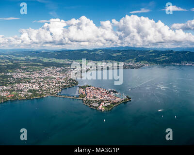 Aerial picture of Lindau on Lake Constance and the Allgäu region in the background - Stock Photo