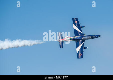 Frecce Tricolori (Tricolour Arrows) - Italian acrobatic flight patrol - Aermacchi mb 339 - Airshow Alba Adriatica Italy - acrobatics in the sky - Stock Photo