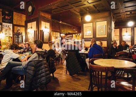 Viennese coffee houses, Café Hawelka, Vienna - Stock Photo