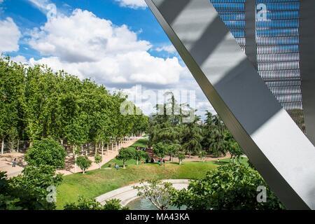 View from the Pasarela de la Arganzuela bridge into the Parque Madrid Río in Madrid, Spain - Stock Photo