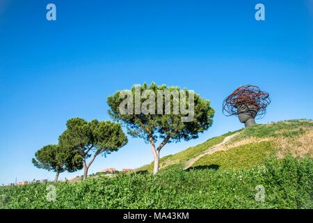 A sculpture at the Park Lineal del Manzanares in Madrid, Spain - Stock Photo