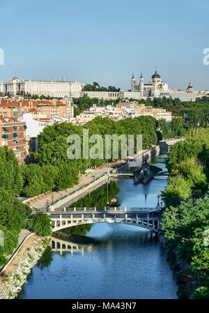 The view from the Teleférico de Madrid cable car of the Manzanares River in Madrid, Spain - Stock Photo