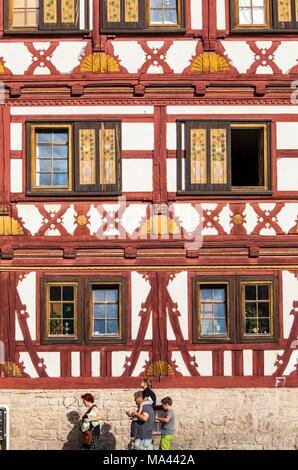 A half-timbered house in Meiningen, Thuringia, Germany - Stock Photo