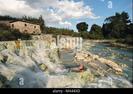 The Cascate del Mulino hot springs in Tuscany, Italy - Stock Photo