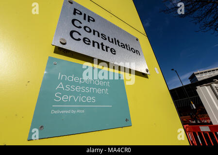 Personal Independence Payment PIP Consultation Centre. Independent Assessment Services delivered by Atos. Southend on Sea, Essex, UK. Sign - Stock Photo