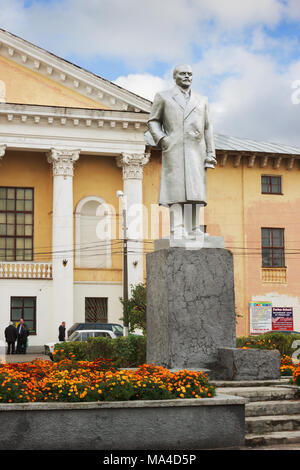 Bor, Russia - October 5, 2012: A small town in the Volga region. Modest monument to Lenin in front of the House of Culture - Stock Photo