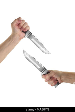 Objects Hands action - Two Hand holds Survival knife isolated white background. - Stock Photo