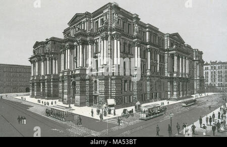 Antique c1885 monochromatic print from a souvenir album, showing the City Hall and Courthouse Buildings (1882-1905) in Chicago, Illinois. It was designed by James Egan. Printed with the Glaser/Frey lithographic process, a multi-stone lithographic process developed in Germany. - Stock Photo