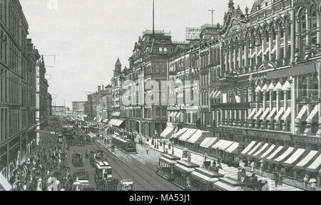 Antique c1885 monochromatic print from a souvenir album, showing North State Street from Madison Street in Chicago, Illinois. Printed with the Glaser/Frey lithographic process, a multi-stone lithographic process developed in Germany. - Stock Photo