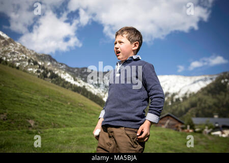 Elias, son of the alpine farmers on the Karalm close Rauris calls the cows for milking - Stock Photo