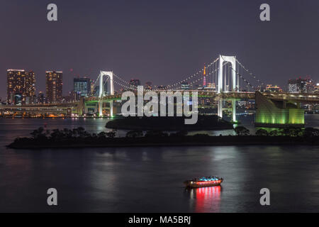 Asia, Japan, Nihon, Nippon, Tokyo, Shibura Kai, Odaiba, Minato, Rainbow Bridge at night - Stock Photo
