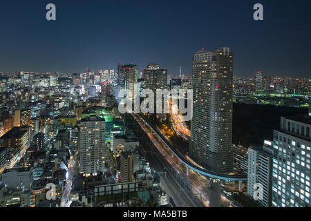 Asia, Japan, Nihon, Nippon, Tokyo, city overview, Hamamatsucho stadium, view from Tokyo World Trade Center - Stock Photo