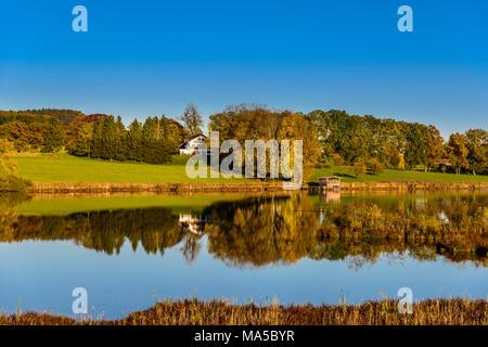 Germany, Bavaria, Upper Bavaria, Ebersberg, Egglburger See (lake) - Stock Photo