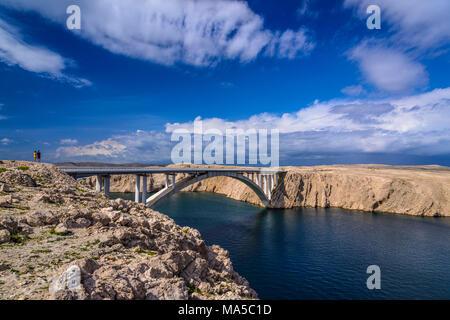 Croatia, Dalmatia, Pag island, Miskovici, Paski Most, Pag bridge to the mainland - Stock Photo