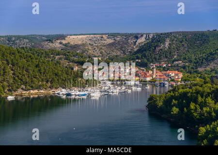 Croatia, Dalmatia, region of Sibenik, Skradin, town view with Krka river - Stock Photo