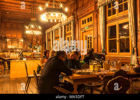 Austria, Tyrol, Mayrhofen, Zillertal (valley), restaurant of the Berliner Hütte (alpine hut) in the Zillertal Alps - Stock Photo