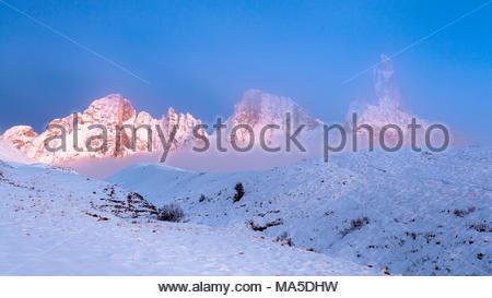 Passo Rolle, mountain group Pale di San Martino with Cimon della Pala. Trentino, Dolomites, Italy - Stock Photo