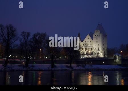 Neues Schloss, Danube, at night, Ingolstadt, Upper Bavaria, Bavaria, Germany, Europe - Stock Photo