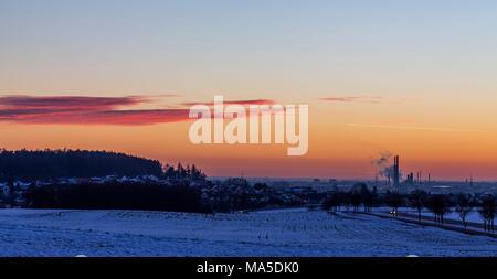 Sunset near Ingolstadt in winter, Bavaria Germany Stock Photo
