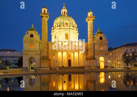 Karlskirche at Karlsplatz / Charles' Square in Vienna, Vienna, Austria - Stock Photo
