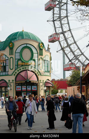 giant wheel at the Prater in Vienna, Austria - Stock Photo