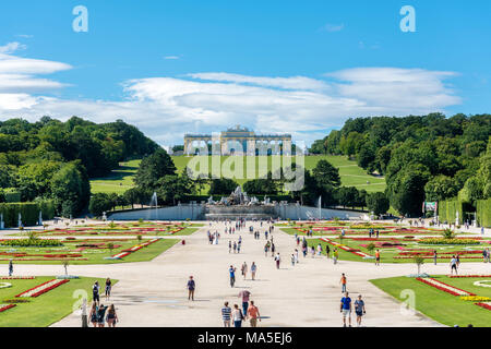 Vienna, Austria, Europe. The The Neptune Fountain and the Gloriette in the gardens of Schönbrunn Palace. - Stock Photo