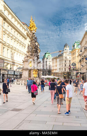 Vienna, Austria, Europe. The Pestsäule (Plague Column) located on the Graben - Stock Photo