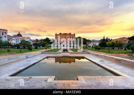 Palace of the Zisa at sunset Europe,Italy,Sicily region, Palermo district, Norman royal park - Stock Photo