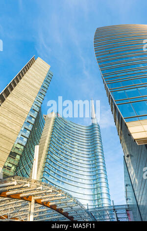 Milan, Lombardy, Italy.  Gae Aulenti square with Unicredit Towers - Stock Photo