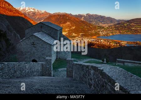 A view of Brianza from San Pietro al Monte abbey, valle dell'Oro, Civate, Lecco province, Brianza, Lombardy, Italy, Europe - Stock Photo