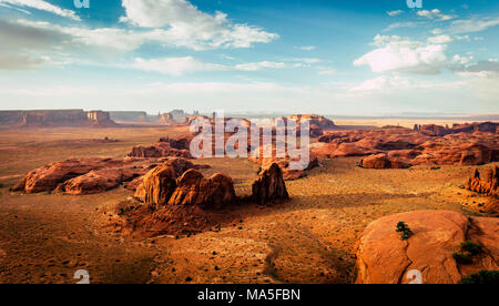 Utah - Ariziona border, panorama of the Monument Valley from a remote point of view, known as The Hunt's Mesa - Stock Photo