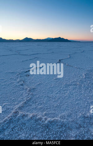 Dusk at Bonneville Salt Flats, Wendover, Salt Lake City, Utah, Usa - Stock Photo